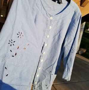 Erika Tops - Blue Button Up with Floral Punch outs